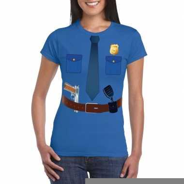Goedkope politie verkleedkleren t shirt blauw voor dames
