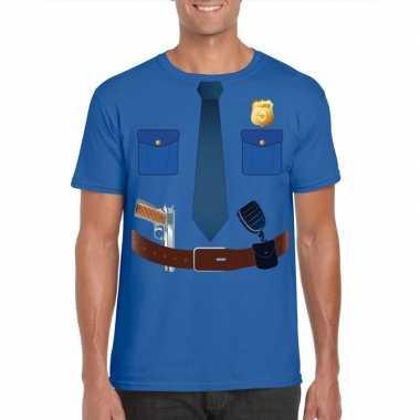 Goedkope politie verkleedkleren t shirt blauw voor heren
