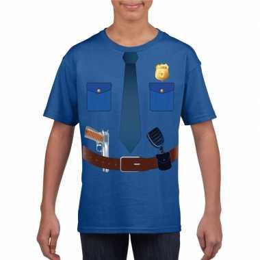Goedkope politie verkleedkleren t shirt blauw voor kinderen