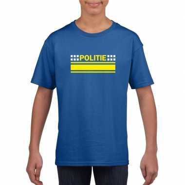 Goedkope politieagent shirt blauw voor kinderen