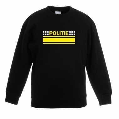 Goedkope politieagent sweater / trui zwart voor kinderen