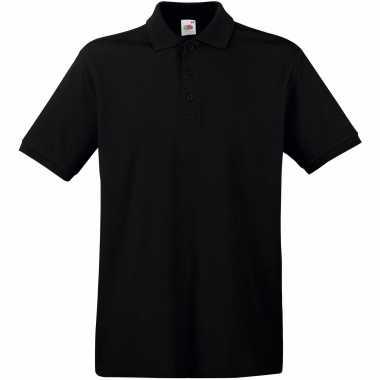 Goedkope premium polo t shirt / poloshirt zwart van katoen voor heren