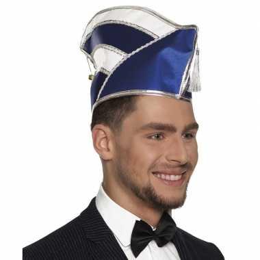 Goedkope prins carnaval muts blauw met wit voor heren