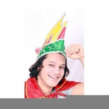 Goedkope prins carnaval muts gekleurd voor volwassenen