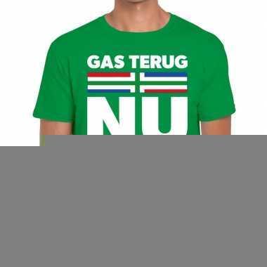 Goedkope protest t shirt gas terug nu groningen groen voor heren