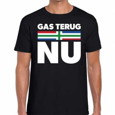 Goedkope protest t shirt gas terug nu groningen zwart voor heren