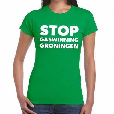 Goedkope protest t shirt stop gaswinning groningen groen voor dames