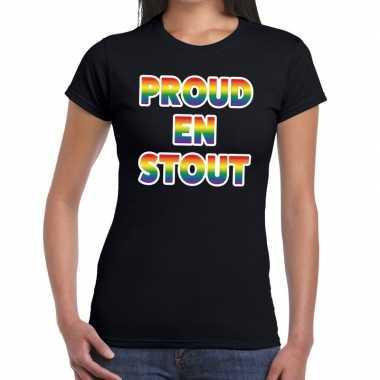 Goedkope proud en stout gaypride tekst/fun shirt zwart dames