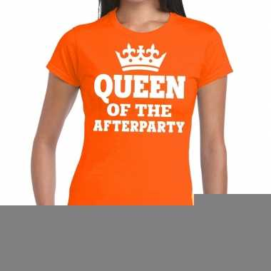 Goedkope queen of the afterparty shirt oranje dames