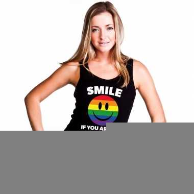 Goedkope regenboog emoticon smile if you are gay mouwloos shirt/ tank