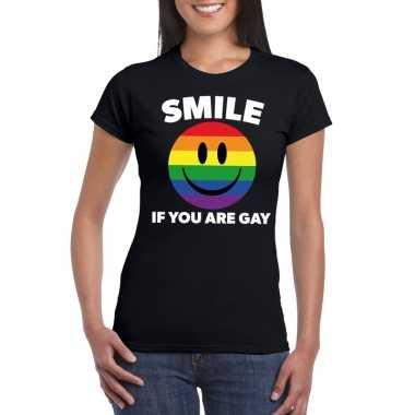 Goedkope regenboog emoticon smile if you are gay shirt zwart dames