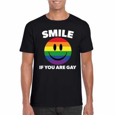 Goedkope regenboog emoticon smile if you are gay shirt zwart heren
