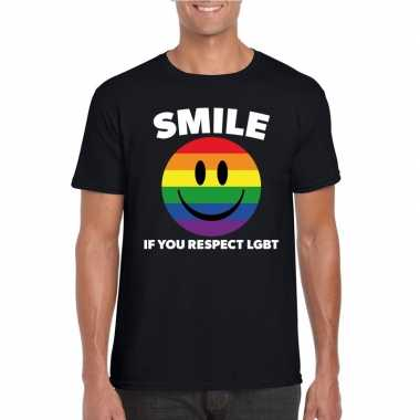 Goedkope regenboog emoticon smile if you respect lgbt shirt zwart her