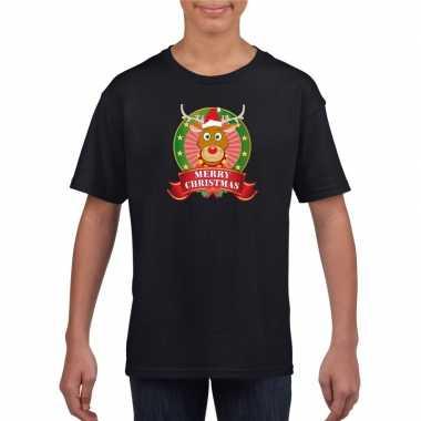 Goedkope rendier kerstmis shirt zwart voor jongens en meisjes