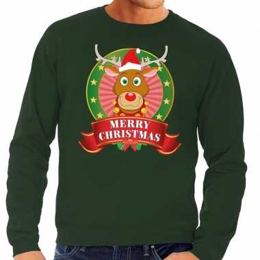 Goedkope rendieren kersttrui groen merry christmas heren
