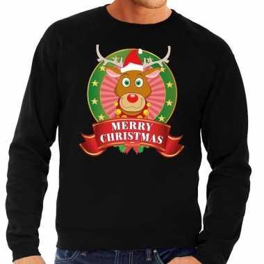 Goedkope rendieren kersttrui zwart merry christmas heren