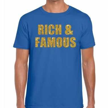 Goedkope rich and famous fun t shirt blauw voor heren