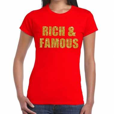 Goedkope rich and famous fun t shirt rood voor dames