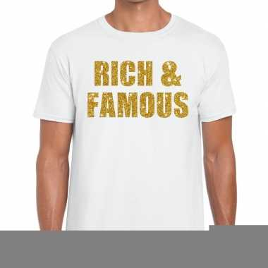 Goedkope rich and famous fun t shirt wit voor heren