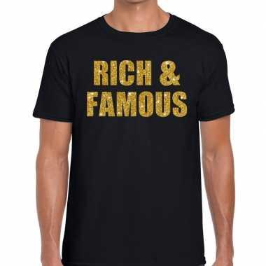 Goedkope rich and famous fun t shirt zwart voor heren