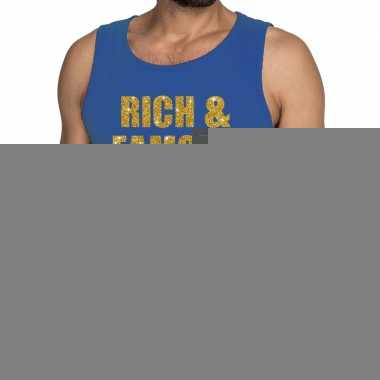 Goedkope rich and famous fun tanktop / mouwloos shirt blauw voor here