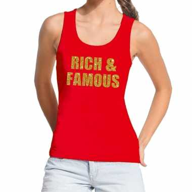 Goedkope rich and famous fun tanktop / mouwloos shirt rood voor dames