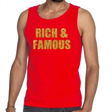 Goedkope rich and famous fun tanktop / mouwloos shirt rood voor heren