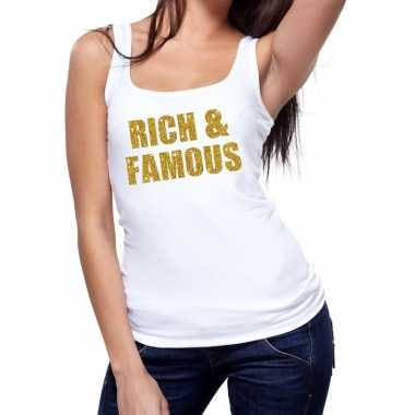 Goedkope rich and famous fun tanktop / mouwloos shirt wit voor dames
