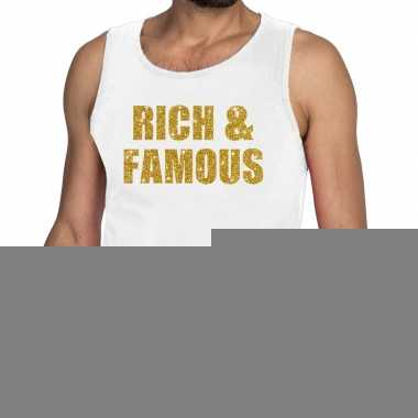 Goedkope rich and famous fun tanktop / mouwloos shirt wit voor heren