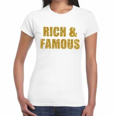 Goedkope rich and famous goud fun t shirt wit voor dames
