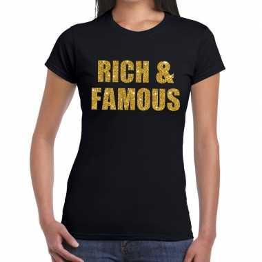 Goedkope rich and famous goud fun t shirt zwart voor dames