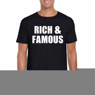 Goedkope rich & famous fun t shirt zwart voor heren
