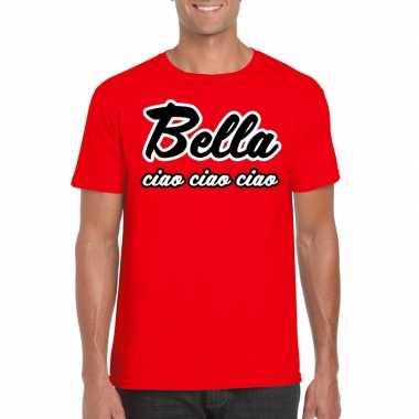 Goedkope rode bankovervaller bella ciao t-shirt voor heren