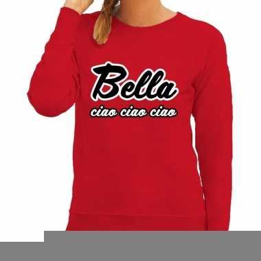 Goedkope rode bankovervaller bella ciao trui voor dames