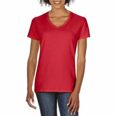 Goedkope rode dames casual t shirts met v hals
