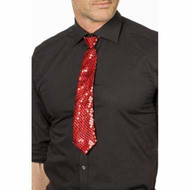 Goedkope rode glitter verkleed stropdassen 32 cm voor dames/heren