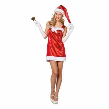 Goedkope rode korte kerst jurk met muts voor dames