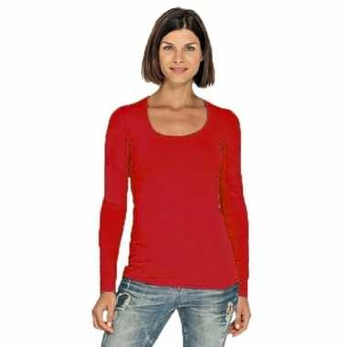Goedkope rode longsleeve shirt met ronde hals voor dames