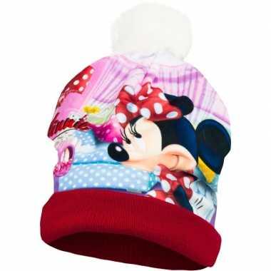 Goedkope rode minnie mouse wintermuts voor meisjes