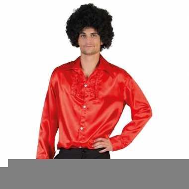 Goedkope rode rouche overhemd voor heren