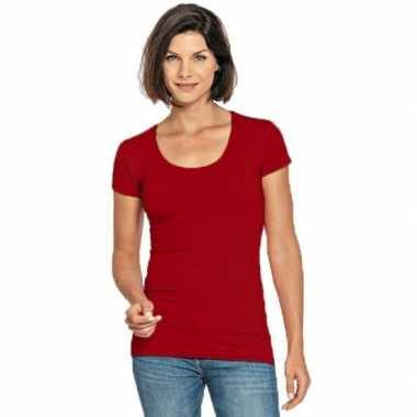 Goedkope rode shirt met ronde hals voor dames