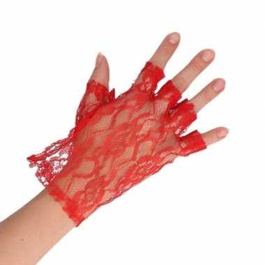 Goedkope rode verkleed handschoenen kant voor dames