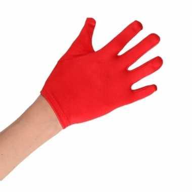 Goedkope rode verkleed handschoenen satijn voor jongens/meisjes