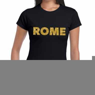 Goedkope rome gouden letters fun t shirt zwart voor dames