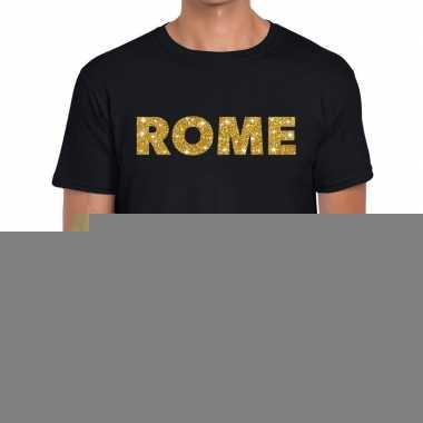 Goedkope rome gouden letters fun t shirt zwart voor heren