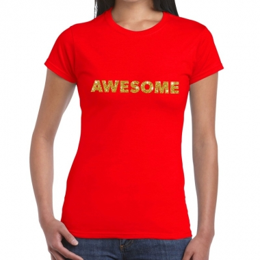 Goedkope rood awesome goud fun t shirt voor dames
