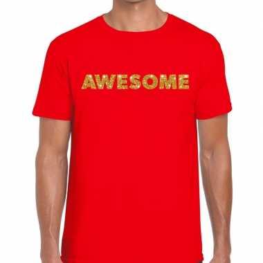 Goedkope rood awesome goud fun t shirt voor heren