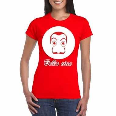 Goedkope rood bankovervaller t shirt voor dames
