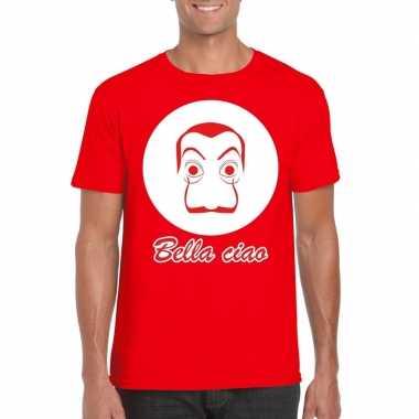 Goedkope rood bankovervaller t shirt voor heren