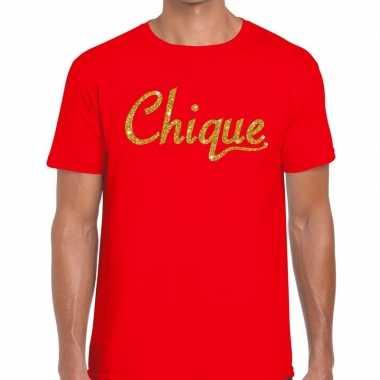 Goedkope rood chique goud fun t shirt voor heren